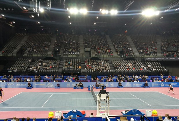 L'Aréna de Montpellier Open Sud de France On FIRE lors de la rencontre entre Marin CILIC et Dustin BROWN.