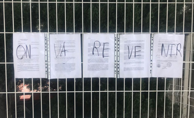 """on va revenir"" message laissé par les occupants de l' université Paul Valéry de Montpellier."