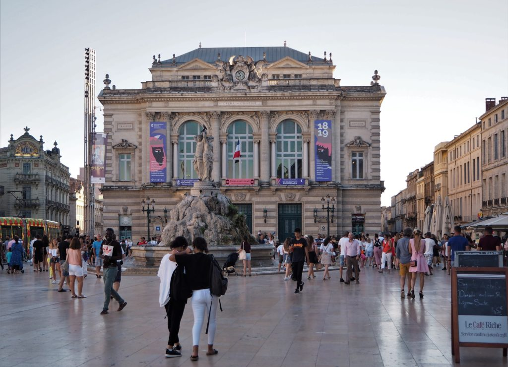 Place de la Comédie, a must-see for the citizens of Montpellier and internationals. C.P : Alice Fiedler, 2018